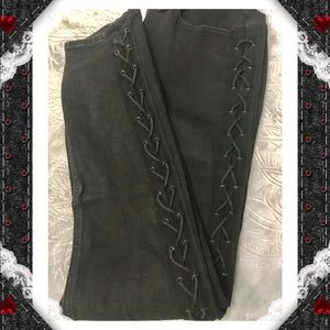 Denim - Lace Up Black Skinny Jeans